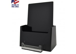 BLACK Pamphlet Holder with Business Card Pocket